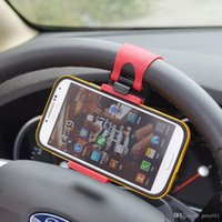 Wholesale Iphone 4s Car - Universal Car Steering Wheel Hand-free Mobile Phone Holder for iPhone 4S 5 5S 5C Galaxy S4 S5 GPS MP4 PDA