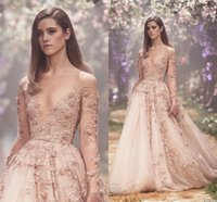 Wholesale Halter Wedding Dresses Slit - Champagne 3D Floral Long Sleeve Wedding Dresses 2018 Paolo Sebastian Lace Applique Princess Puffy Skirt Country Garden Wedding Gowns