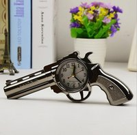 Wholesale pistol style online - New Novelty Pistol Gun Shape Alarm Clock Desk Table Home Office Decor Gifts H018