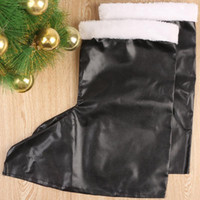 Wholesale Leather Santa Claus Boots - Wholesale-New Garment PU Leather Boots Santa Claus Shoes Boots Christmas Gift item for Men Black-5