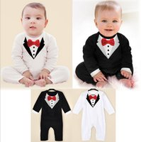 Wholesale One Piece White Baby - Wholesale-New newborn Baby rompers baby boy clothes, bebes baby Rompers black white bow tie gentleman one-pieces jumpsuit Baby clothing