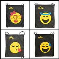 Wholesale 12 Drawstring Backpacks - 12 Styles Emoji Oxford Bags Fashion Unisex Travel Beach Storage Bags Drawstring Bag Christmas Gifts CCA7870 100pcs