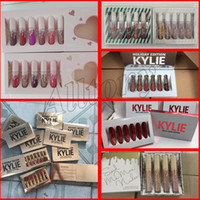 Wholesale Gold Velvet Set - Kylie Jenner Gold Birthday Edition i want it all send me more nudes Matte velvet holiday valentine Liquid Lipstick Lip Gloss 6pcs set