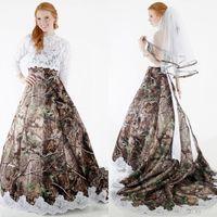 Wholesale Strapless Wedding Dresses Detachable - 2017 Modest Camo Wedding Dresses with Detachable Wrap Long Sleeves A Line Forest Plus Size Arabic Lace Wedding Dresses