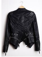 veste punk cloutée achat en gros de-Gros-New Womens Punk Spike Clouté Épaule PU Veste En Cuir Zipper Coat PIUS Taille S-4XL