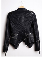 Wholesale Womens Leather Jackets Zippers - Wholesale-New Womens Punk Spike Studded Shoulder PU Leather Jacket Zipper Coat PIUS Size S-4XL