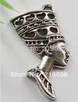 Wholesale antique egyptian jewelry - Wholesale 50PCS Antiques Silver Cute Egyptian Queen Charms Pendants Dangle Beads For Women Jewelry Findings Accessories Gifts Bijoux M2610