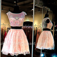 Crop Top Two Pieces Homecoming Dresses 2016 Illusion Neck Fabulous Beading Decoration Lace Skirt Pink Prom Hemecoming Dress Prom Dresses