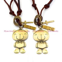 Wholesale Graduated Bear - Teddy Bear Accessories Metal Pendant Amulet Adjustable Leather Necklace Punk Cowboy Decorations Gift 10pcs lot
