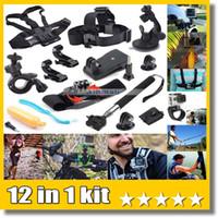 kit de montaje del casco al por mayor-Kit de viaje 12 en 1 Correa de muñeca + Casco de montaje Cabeza Cinturón de montaje + Bobber Para cámara de acción 4K EKEN H9