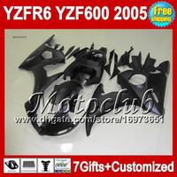 mattschwarze r6 verkleidungen großhandel-Flache schwarze 7gifts + Körper für YAMAHA YZFR6 05 2005 YZF-R6 YZF-600 1C11 YZF600 YZF 600 YZF R6 05 2005 YZF R 6 2005 Verkleidung Kit Matte schwarz