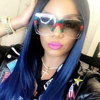 gözlük büyük boy camlar toptan satış-Kadınlar Boy Tasarımcı Güneş Gözlüğü Kare SunglassesWomen Moda Kristal Büyük Çerçeve Güneş Gözlükleri UV400 Kadın Gözlük Y254