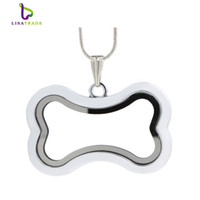 """2016 Hot !! Silver magnetic glass floating charm locket """"Bone"""" No Rhainstone (chains included for free) LSFL040-1"""