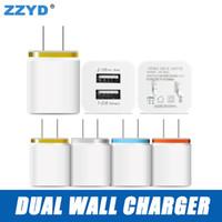 enchufes de iphone al por mayor-ZZYD para Samsung S8 Note 8 Dual USB Wall Charger 5V 2.1A 1A Adaptador de viaje de metal US EU plug Adaptador de corriente alterna