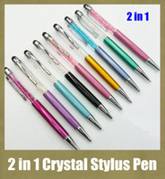 Wholesale Touch Screen Writing Pen - writing capacitive pen multi function crystal stylus pen fit for HTC iphone ipad blacberry s5 colorful screen touching pen cheapest STY007