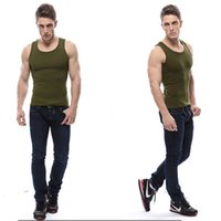 Wholesale Underwear Shirt For Men - Army Green Mens Tank Tops Shirts Slim Fit Round Collar Mens Underwear Suitable For Sports Mens Shirts