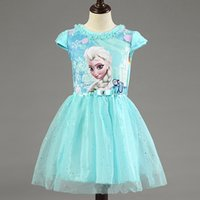 Wholesale European Chiffon - Girl Dress Summer Brand Toddler Girls Clothes Lace Sequins Princess Anna Elsa Dress Snow Queen Halloween Party Role-play Costume
