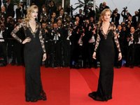 Wholesale Cannes Film Festival Red Carpet - High Quality 2017 Sexy Cara Delevingne Cannes Film Festival Deep V Neck Long Lace Sleeve Sweep Train Carpet Evening Celebrity Dresses