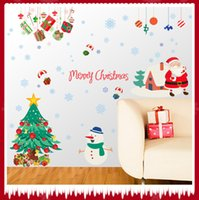 Feliz Natal Papai Noel Xmas Tree presente do floco de neve Decal Wall Art adesivos para a loja da festa de Natal da loja Home Decor Wall Decor Murais