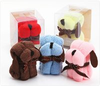 Wholesale Towel Cake Designs - 10Pcs 20x20Cm Mini Cartoon Cake Towel Dog Puppy Design Small Kerchief Towel + Gift Box Wedding gift Baby shower gift souvenirs