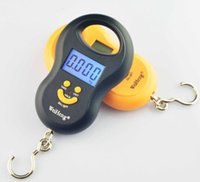 Wholesale Digital Hanging Weighing - 50Kg 10g Portable Handy Pocket Smile Mini Electronic Digital LCD Scale Hanging Fishing Hook Lage Balance Weight Weighing Scales 5g
