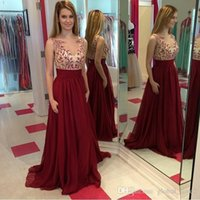 Wholesale Show Girl Evening Dress - 2016 New Buyer Show Burgundy Long Prom Dresses Chiffon Formal Dresses Evening Plus Crystal Beaded Elegant Evening Gowns Girls Party Dresses