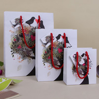Wholesale Custom Paper Shopping Bags - Valentines Gift Paper Bag Creative Art White Shopping Bag Custom Design Festive Party Gift Package SD775