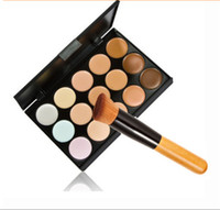 Wholesale Acne Free Brush - Hot 15 Colors Pro Face Cream Makeup Concealer Palette Kits With Free Foundation Brush M297