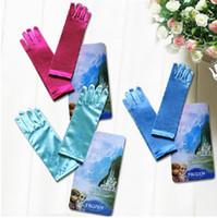 Wholesale Baby Accessories Retail - Retail Baby Girls Frozen Elsa Princess Long Gloves Children Satin Gloves For Evening Dress Cosplay Gloves Kid's Costume Accessories