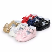 Wholesale Ballet Flats Toddlers - Wholesale- 2017New Brand Lovely Bow Toddler First Walkers Pu leather Baby shoes Round Toe Flats Babe Ballet Dress Princess Shoes Soft Soled