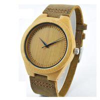 Wholesale Classic Watch Boxes - 5pcs lot Classic Bamboo Wooden Watch japanese miyota 2035 movement wristwatches genuine leather bamboo wood watches for men women gift box