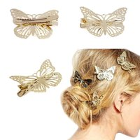 Wholesale 2016 Fashion Bling Golden Butterfly Hair Clip hair clip accessories Headband gold hollow out bow butterfly barrette Girl Headwear