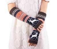 Wholesale Long Fingerless Gloves Pink - 2017 hot Fashion Wrist Warmer Winter Knitted Long Fingerless Gloves for Women Mittens High Quality