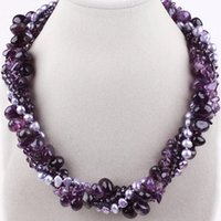 Wholesale Twisted Multi Strand Pearl Necklace - Wholesale-Amazing Style Multi Twisted Strands Amethyst and Pearl Necklace