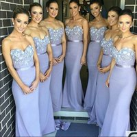 Wholesale blue strapless flower girl dresses - 2017 Cheap Real Photos Lavender Bridesmaid Dresses Charming Appliques Strapless Sexy Backless Prom Gowns Mermaid Slim Girls' Party Dress