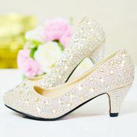 ouro vermelho talões de cristal de prata venda por atacado-Cristal brilhante 2015 Sapatos De Casamento 5 cm Médio Salto De Lantejoulas Sapatos De Noiva De Strass Prata Prom Party Shoes Vermelho e Ouro