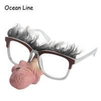 Wholesale Photo Nose - Funny Costume Old Man Glasses Slicone Big Nose Clown Cosplay Props Photo Booth Props Fun Favors Mask Party Supplies Decoration