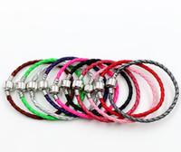 ingrosso misura il braccialetto-Singolo bracciale in argento 925 Bracciali in pelle Catene per bracciali Pandora 17 cm 19 cm 21 cm 20 pz / lotto 57 Colori Bracciale Adatto perline di fascino europeo