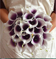 Wholesale Cheap Fake Flowers For Weddings - Romantic Artificial Flowers Purple in White Mini Calla Lily Bouquets for Bridal Wedding Bouquets Chirstmas Decoration Fake Flower Cheap Sale