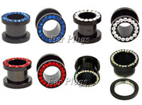 Wholesale Ear Plug Gem - Wholesale 80pcs CZ Gem Rhinestones Rim Steel Anodized Black Ear Flesh Tunnels Double Flare Screw Gauge Plugs SRP002