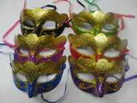 Wholesale Weld Mask - 2016 mix order 100pcs lot promotion selling party mask welding gold fashion masquerade Venetian colorful Free shipping