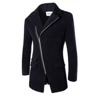 Wholesale Long Wool Overcoats For Men - FG1509 Men's Long Coat 2015 Spring Fashion Brand Mens Wool Winter Coats Overcoat Men's Slim Fit Winter Jacket For Male ZHY1317