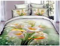 Wholesale Calla Lily Bedding - Wholesale-Light green floral duvet cover bedding comforter set for queen size bedspread bed in a bag sheet fashion quilt cotton calla lily