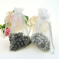 Organza Tulle Sheer Silk Yarn Gauze Fabr organza jewelry pouch with logo - 10x15cm White Jewelry Package With Logo Drawstring Jewelry Bags Small Drawstring Pouches Organza Bags