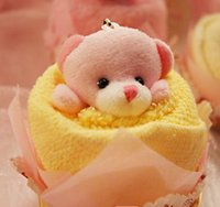 Wholesale Towel Cake Valentine - Lovely Teddy Bear Cake Towel 30*30cm mini towel Wedding Christmas Valentines birthday gifts Baby shower favors gift souvenirs