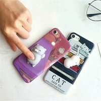 Wholesale Cute Animal Iphone Covers - Squish Case Cute 3D Cat Seal Animal Stress Release Squish Cover For iPhone X 5 5S SE 5C 6 6S 7 8 Plus Samsung S8 Plus S7 Edge