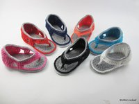 Wholesale Hand Made Kids Shoes - Cotton yarn Crochet toddler sandals,soft baby shoes,summer kids bare foot flip flop,hand made infant slippers, walking shoes.9pairs 18pcs