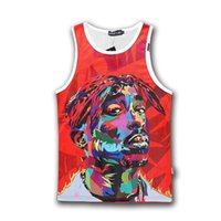 Wholesale Plus size new harajuku fashion men women tupac Pac tank top casual d character sleeveless hip hop mens summer tops FG1510