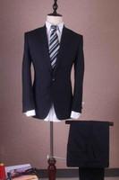 erkekler balo resimleri toptan satış-Erkekler Için gerçek Resim Siyah Smokin Slim Fit Erkek Takımları Doruğa Yaka Smokin Suits Custom Made Damat Groomsmen Balo Suits (Ceket + Pantolon)