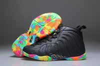 Wholesale Silver Pebble - New Kids Penny Hardaway Fruity Pebbles Olympic USA Eggplant Royal Basketball Shoes Cheap youth Air Foam One Sneakers For Sale